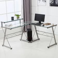L-Shape Corner Computer Desk PC Glass Laptop Table Workstation Home Office  Clear