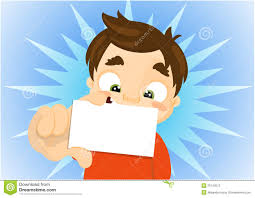 Kid Cards Cartoon Kid Holding A Blank Business Card Stock Illustration
