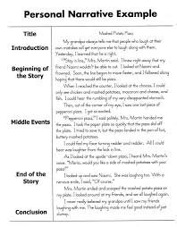 Personal Narrative Essay Sample Narrative Writing