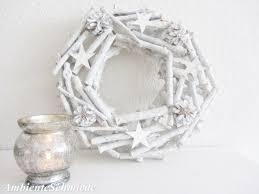 Zapfen Kranz Türkranz Holz Sterne Weiß 30cm Deko Winter Weihnachten Shabby Skandi
