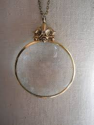 vintage magnifying glass necklace on