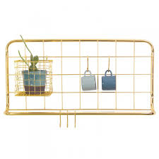 Kitchen Present Open Grid Kitchen Rack Copper Wall Hanging Kitchen Storage