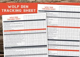 Wolf Advancement Chart Wolf Den Tracking Worksheet Free Printable Ultimate Scouts