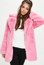 pink faux fur coat with collar rm9957