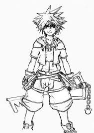 Small Picture Kingdom Hearts Character Sora Coloring Page NetArt