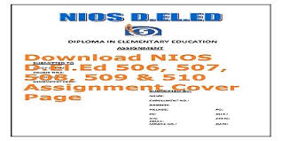 Cover Page For Assignment Free Download Nios D El Ed Assignment Front Page Free Download Archives