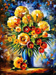 flowers of happiness palette knife oil painting on canvas by leonid afremov by leonid afremov
