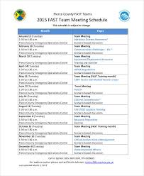 sample meeting schedule 9 team schedule templates free sample example format download