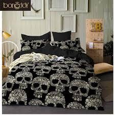 lovinsunshine black color duvet cover queen size luxury flower skull bedding set king size 3d skull beddings and bed sets cover malaysia senarai harga