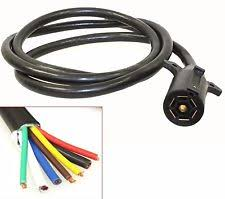 7 wire trailer harness 7ft foot 7 way trailer cord wire 7 harness light plug connector molded rv cable