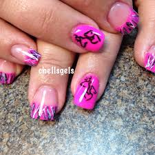 Browning Symbol Nail Designs Muddy Girl Pink Camo French Tip Nails With Browning Symbol
