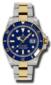 inspire watches com rolex mens submariner blue diamond dial 18k rolex mens submariner blue diamond dial 18k yellow gold two tone mens watch 116613bldo