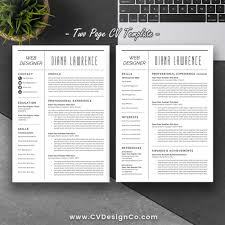 Most Popular Resume Cv Template The Diana Instant Download