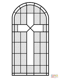 Cross Stained Glass Window Coloring Page Free Printable Coloring