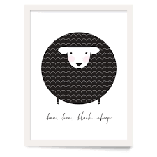 cute sheep farm animal nursery wall art in black and white  on black sheep wall art with baa baa black sheep nursery wall art parade and company