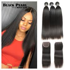 Hair Length Chart Bundles Black Pearl Pre Colored 3 Bundles With Closure Straight