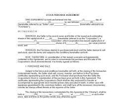 Purchase Agreement Samples Stock Purchase Agreement Template 9 Stock Purchase Agreement