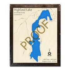 Highland Lake Ct 3d Wood Maps Nautical Charts