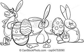 bunnies and easter eggs coloring book csp54753090