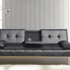 leather sofa bed. Faux Leather Sofa Bed With Cup Holder Available In Black Or Brown R