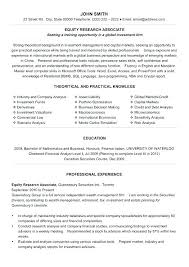 Investment Analyst Resume Cover Letter Marketing Market Research