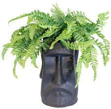 Easter Island Fibrecotta Planter Head Plant Flower Pot Garden Indoor Outdoor