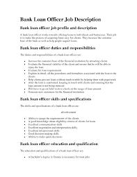 Duties Of A Loan Officer Resume Job