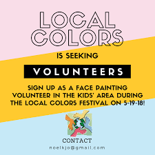help raise funds by face painting at local colors if you want to flex your artistic skills to help support our multicultural programs please contact