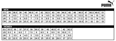 Puma Clothing Size Chart Uk Puma Shoe Size Chart