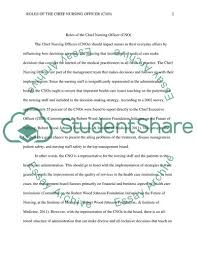 Role Of Cno Chief Nursing Officer Essay Example Topics