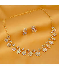sukkhi stylish gold plated artificial necklace jewellery set free pair of earrings of worth inr 199 sukkhi stylish gold plated artificial necklace