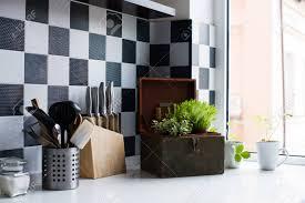 modern kitchen utensils. Kitchen Utensils, Decor And Kitchenware In The Modern Interior Close-up Stock Photo Utensils R