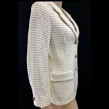 Chanel 98p Off White Tweed Jacket Size Us10 Fr40