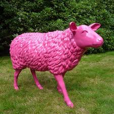 statue sheep lacquered fuchsia pink