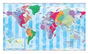 Time Zone Wall Map Of The World Large