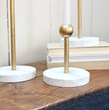 marble and brass candleholders