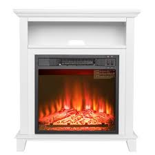 freestanding electric fireplace insert heater in white with tempered glass with storage