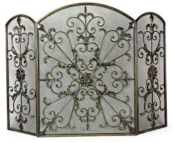 image of decorative wrought iron fireplace screens