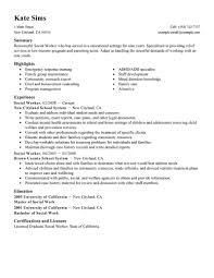 Work Cover Letter Examples Sample Social Worker Resume Template