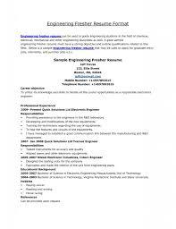 Resume Format For Engineering Fresher It Resume Cover Letter Sample