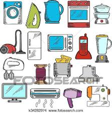 kitchen appliances clipart. Simple Appliances Appliances Icons Set With Microwave And Vacuum Iron Refrigerator  Toaster Tv Set Washing Sewing Machines Blender Mixer Fan Stove  In Kitchen Clipart