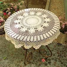 get ations ustide rustic cotton table cloth round handmade crochet tablecloths beige table covers round crochet table decoration