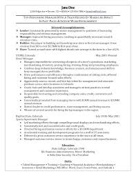 Sample Retail Store Manager Resume Table Assistant Retail Store