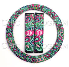 monogrammed steering wheel cover seat belt cover set custom padded insulated steering wheel cover seat belt lilly inspired paisley jewels