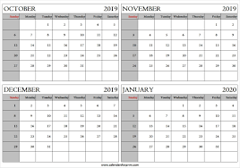 Monthly October 2019 January 2020 Calendar 4 Months 2019