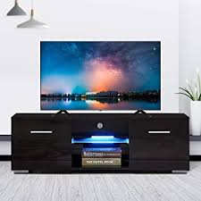 High Gloss TV Stand with LED Lights, Modern TV ... - Amazon.com