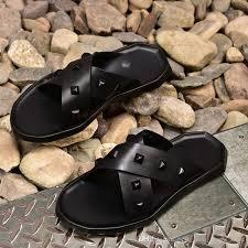 soft leather criss cross spike rivets men summer slippers flat heel leisure sandals big size euro 38 46 silver shoes slipper from best men shoes