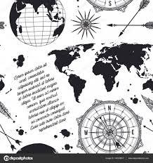 эскиз роза ветров бесшовный фон с старинный глобус компас карта