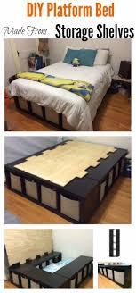 diy platform beds diy platform bed made from storage shelves easy do it yourself