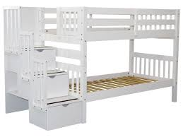 white bunk bed with stairs. Perfect Stairs Standard Height Bunk Bed With White Stairs L
